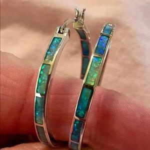 Sterling Silver 925 Blue Opal Inlay Hoop Earrings